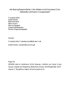 Attributing Responsibility in the Debate on the Eurozone Crisis: Nationally confined or Europeanized?
