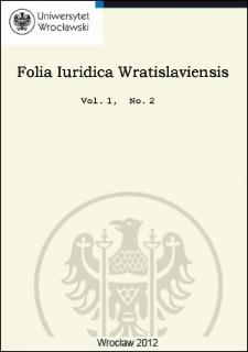 Folia Iuridica Wratislaviensis. 2012, vol. 1, no 2