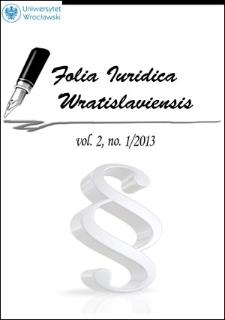 Folia Iuridica Wratislaviensis. 2013, vol. 2, no 1