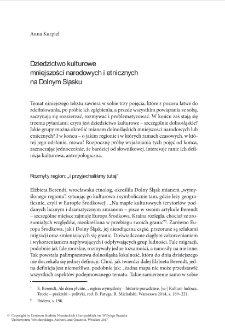 Dziedzictwo kulturowe mniejszości narodowych i etnicznych na Dolnym Śląsku